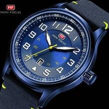 MINI FOKUS Military Männer Uhren Marine Quarzuhr Blau NylonLeather Strap 3D Index Design Auto Datum Mode Relogio Masculino