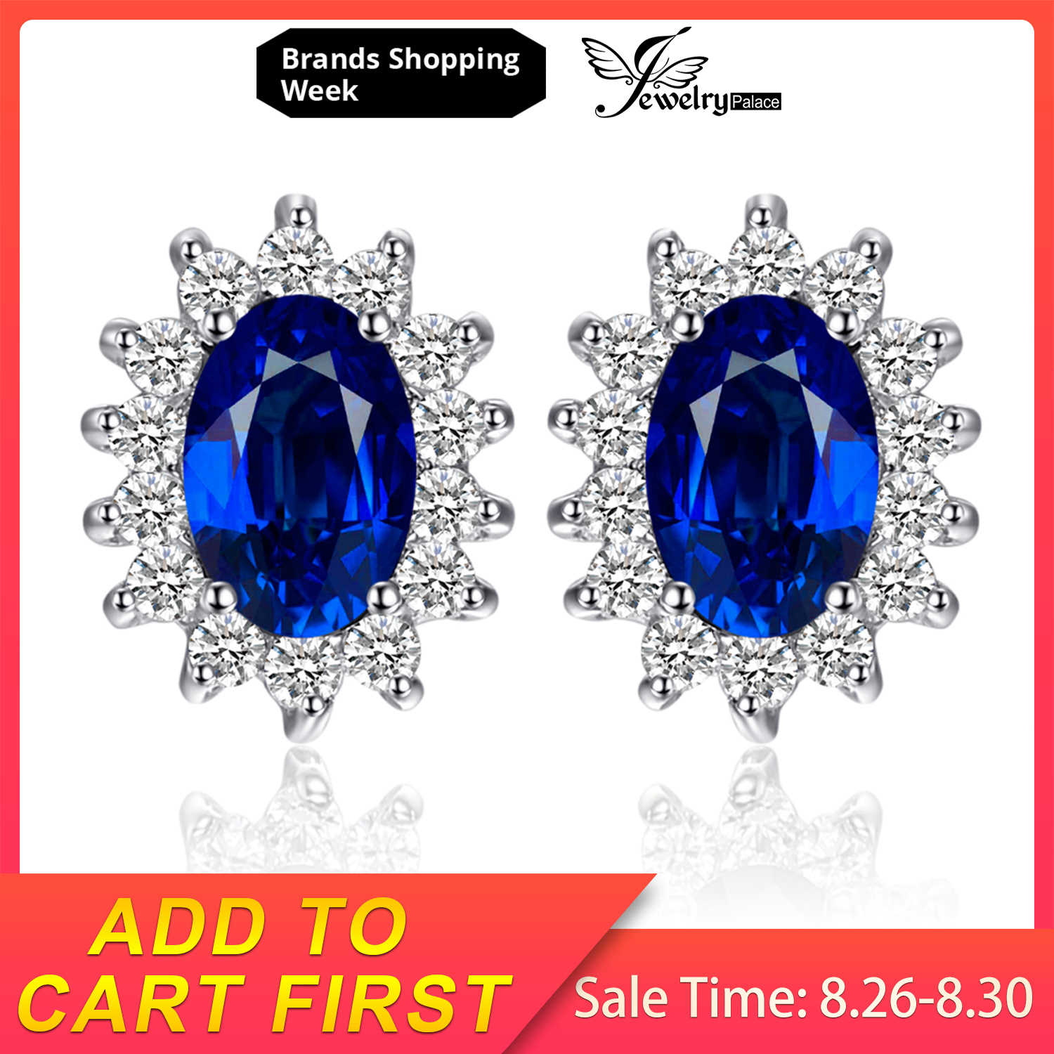 JewelryPalace 1.5ct Birthstone Created Blue Sapphire Princess Diana Halo Stud Earrings 925 Sterling Silver Fine Jewelry Women