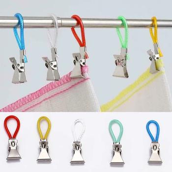 5 sztuk klamerki do bielizny ze stali nierdzewnej kolorowe pranie ręcznik kuchenny klipy do zawieszenia pętle klamerki na pranie kuchnia łazienka klipy tanie i dobre opinie CN (pochodzenie) Metal Hand Towel Hangers Towel Hanging Clips metal + plastic about 46x16mm 5 pcs set