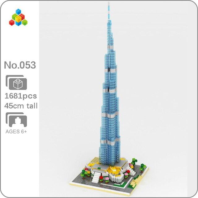 Yz 053 Wereld Beroemde Architectuur Burj Khalifa toren 3D Model Diy Mini Diamant Blokken Bricks Building Speelgoed Voor Kinderen Geen doos