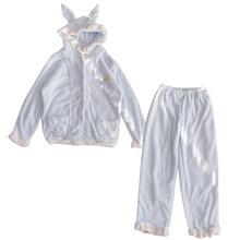 Pajamas-Set Sleepwear Cloth Flannel Ears Women Cute Warm Winter Lolita Home Rabbit Pink