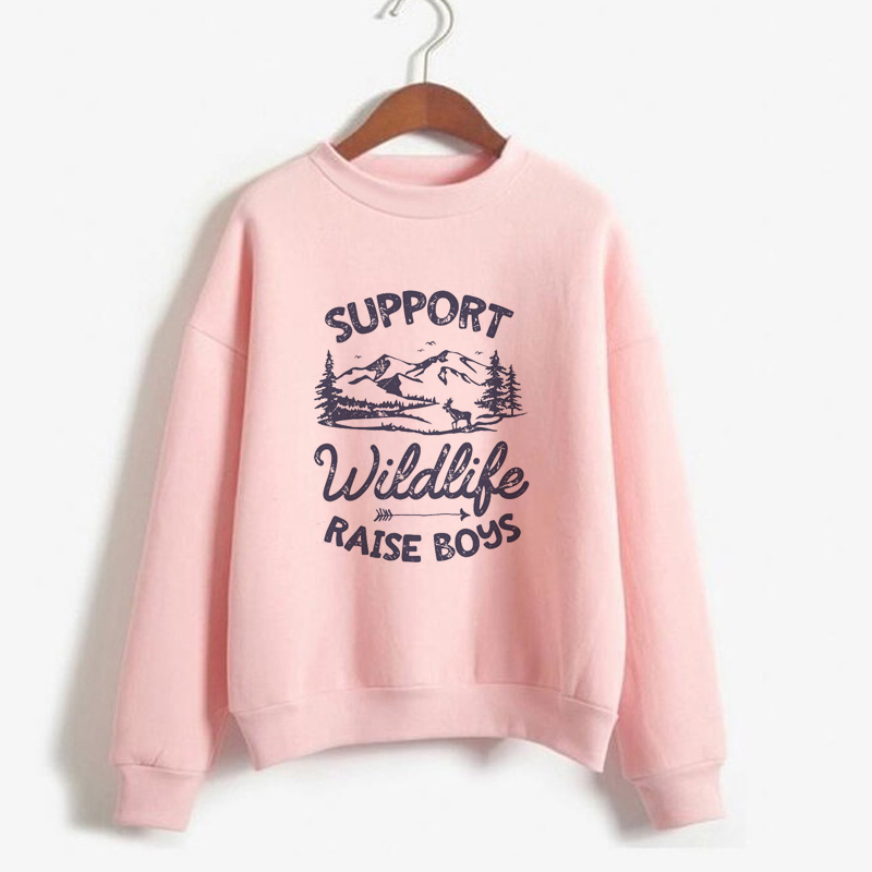 Women's Hoodie Support Wildlife Raise Boys Letters Printed Women Casual Funny Crewneck Sweatshirt Mom Women's Knitted Hoodied