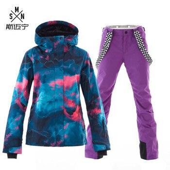 SMN Ski Suit Snowboard Jacket Adult Women Colorful Wind Resistant Waterproof Breathable Outdoor Sport Winter Girls Skiing Suit