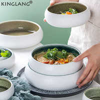 KINGLANG Original Design Kiln Ice Split Glaze Ceramic Flate Plate Japanese Sushi Sashimi Bowl Salad Bowl