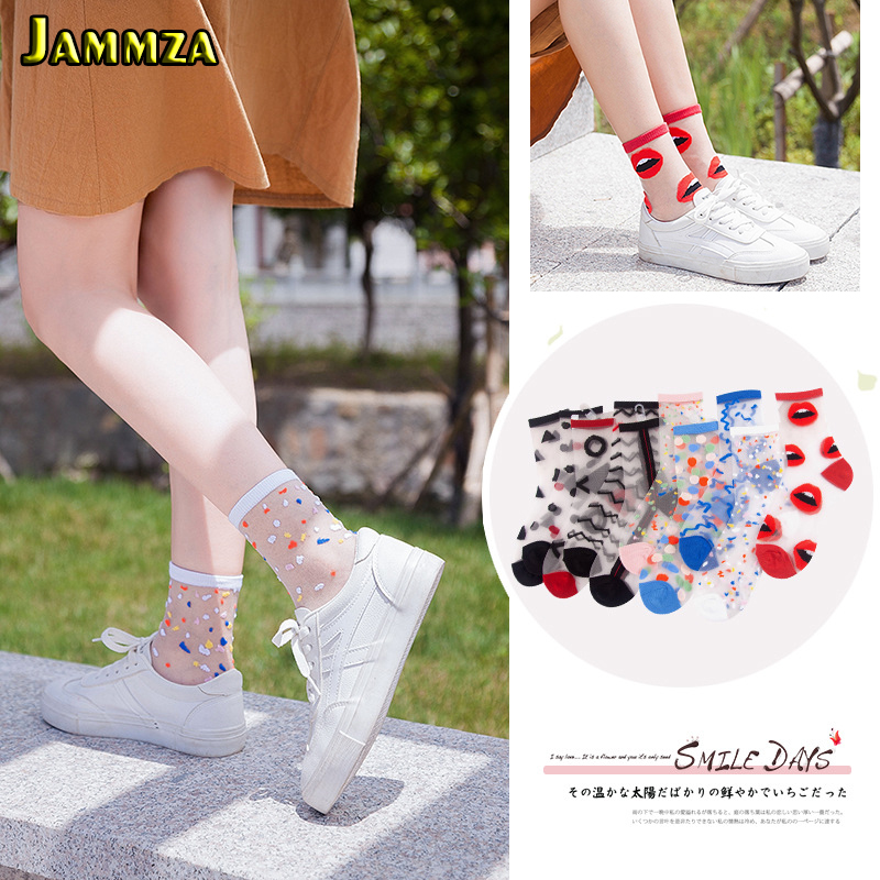 Spring Summer Ultra-thin Glass Filament Socks Woman Printing Dots Korean Style Silk Socks Cute Stripe Transparent Socks