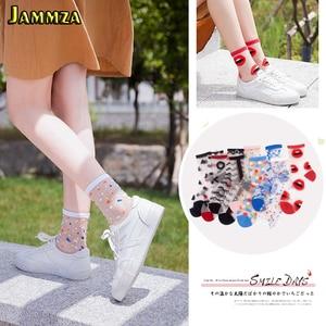 Image 1 - Spring Summer Ultra thin Glass filament Socks Woman Printing Dots Korean Style Silk Socks Cute Stripe Transparent Socks