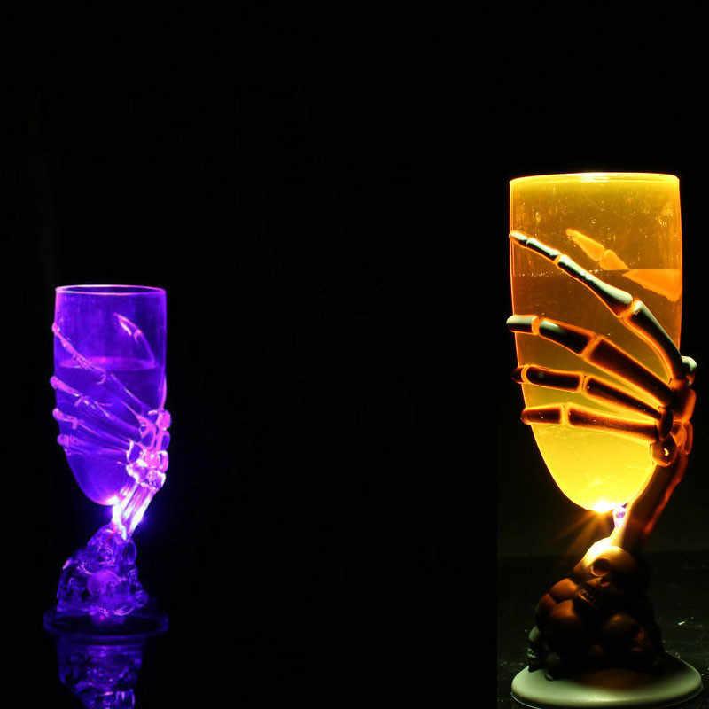 Halloween gobelet brillant coupe de vin griffe fantasmagorique squelette crâne LED maison Bar Club Festival fête effrayant bière café lait lunettes