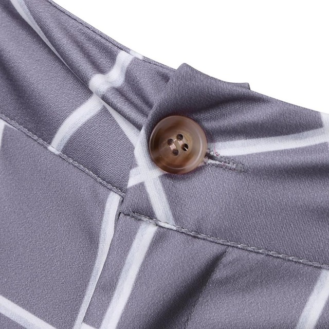 KANCOOLD Smart Casual Pants Fashion Cotton Midweight men's pants Casual Business Slim Fit Plaid Print Zipper Long Pants Trousers 6