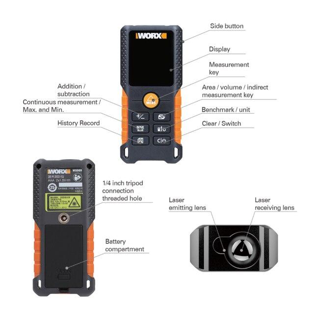 WORX Laser Rangefinder WX087 Distance Meter 40M Laser tape Range finder build Measure Digital Ruler trena roulette Dilatometer 5