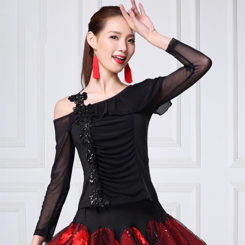 Ballroom Dance Shirts Lady Latin Cha Cha Flamenco Dancing Blouses Modern Standard Outfits Tango Waltz Salsa Samba Tops DNV11928