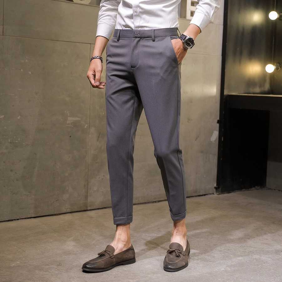 2019 Autumn New Style Men Suit Pants Youth Casual Fashion Slim Fit Pants Embroidered Capri Suit Pants