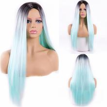 MISS WIG Ombre Blue Long Straight Synthetic Hair Wigs For Women Black Red 24 inch 6 Colors Available Cosplay Wigs