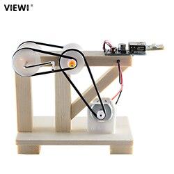 Nowy DIY Self-made  noc  lekki eksperyment naukowy ręcznie Dynamo lampy prezent świąteczny dla dzieci mini drewna światła awaryjne
