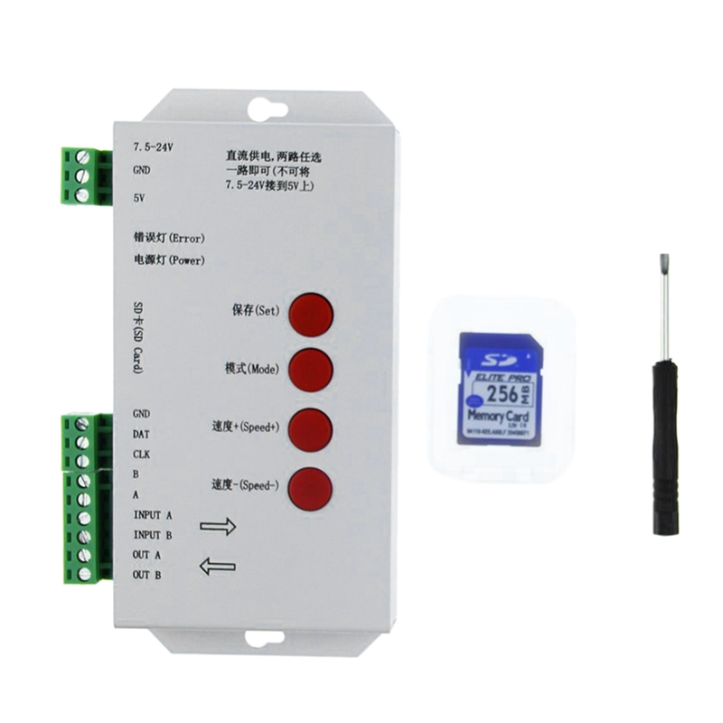 T1000S SD Card LED Pixel Controller For WS2812B LPD8806 6803 WS2811 WS2801