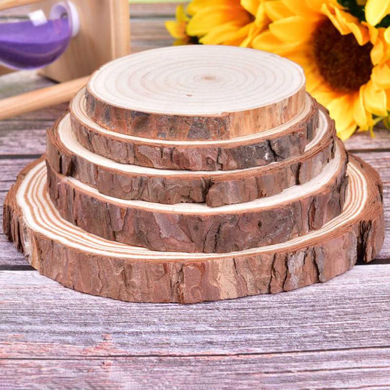 8-16 Cm 1 PC Natural Bulat Kayu Yang Belum Selesai Irisan Lingkaran dengan Kulit Pohon Log Cakram DIY Kerajinan Pernikahan pesta Lukisan