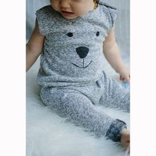 Newborn Playsuit Infant Cartoon Bear Printed Clothes Baby Boys Cute Clothes Sleeveless Short and Long Romper Jumpsuit(China)