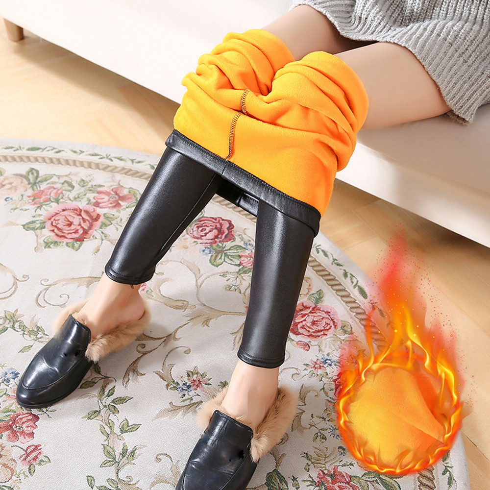 Winter Leggings Warm Legging Thickening Sexy Black Leather Pants High Waist Plus Size Velvet Solid Faux Leather Leggings
