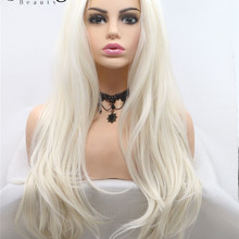 StrongBeauty Natural Wavy Synthetic Lace Front Wigs Black Blond Heat Resistant