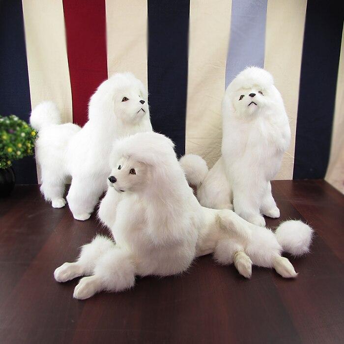 real life toy white poodle dog hard model,polyethylene& furs large poodles handicraft prop,Ornament Decoration Craft gift s0777