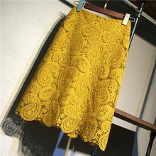 Women Skirt Summer Plus Size Lace Elegant Office Skirts Wome