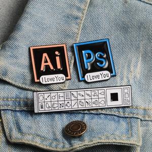PS AI Enamel Pins I Love You Photoshop Illustrator Brooch Toolbar Badge Software Designer Denim Lapel Pin Creative Jewelry