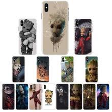 1 милый мягкий черный чехол для телефона groot для iPhone 11 pro XS MAX 8 7 6 6S Plus X 5 5S SE XR