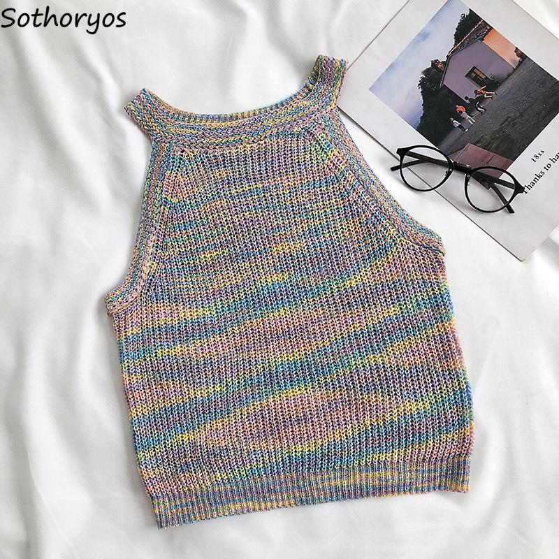 Tank Tops Women Summer Knitted Hang-neck Sexy Vintage Sleeveless Korean Style Multicolor Vest Fashion Womens Outwear Ulzzang New