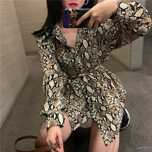 vintage print blouses womens Harajuku ladies tops and with belt plus size loose shirts chemisier femme blusas