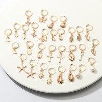 À la mode femmes alliage feuille perle asymétrique or coeur serrure clé étoile de mer coquille papillon boucles d'oreilles bijoux pour les filles