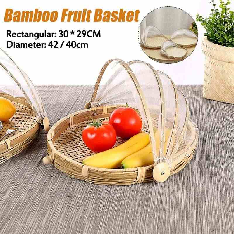 Handmade Bamboo Woven Bug Proof Wicker Basket Round Dustproof Picnic Fruit Tray Food Bread Dishes Cover With Gauze Panier Osier