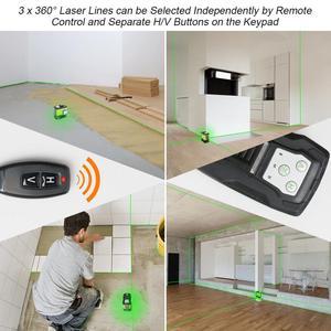 Image 3 - Huepar 3D Self leveling Laser Level 3x360 Green Beam Cross Line 360° Vertical Horizontal Line Remote Control & Hard Carry Case