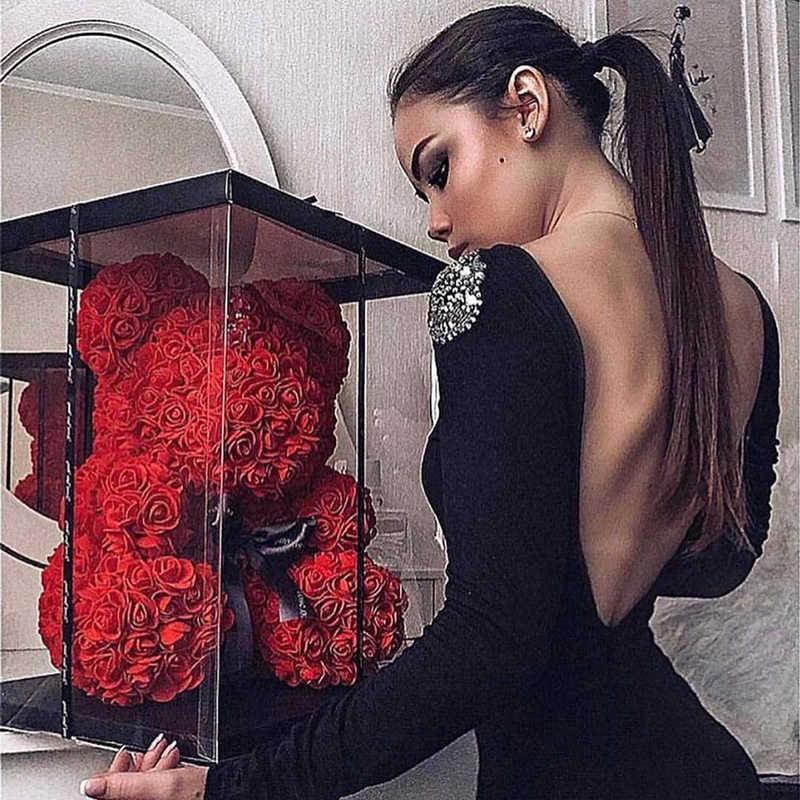Dropshipping 40cm ursinho de pelúcia de rosa flores artificiais pe rosa urso para as mulheres caixa de presente de natal do casamento dos namorados decoração de casa