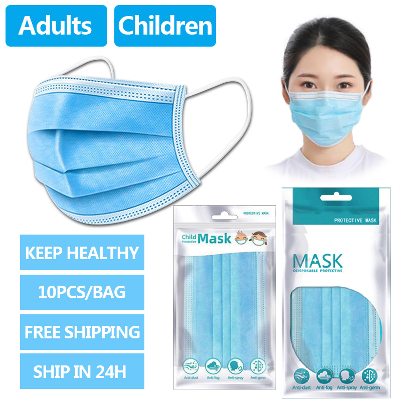 100/200PCS Disposable Mouth Mask Men Women Children Kids 3 Layers Dust Mouth Mask Mouth-muffle Bacteria Proof Flu Face Masks