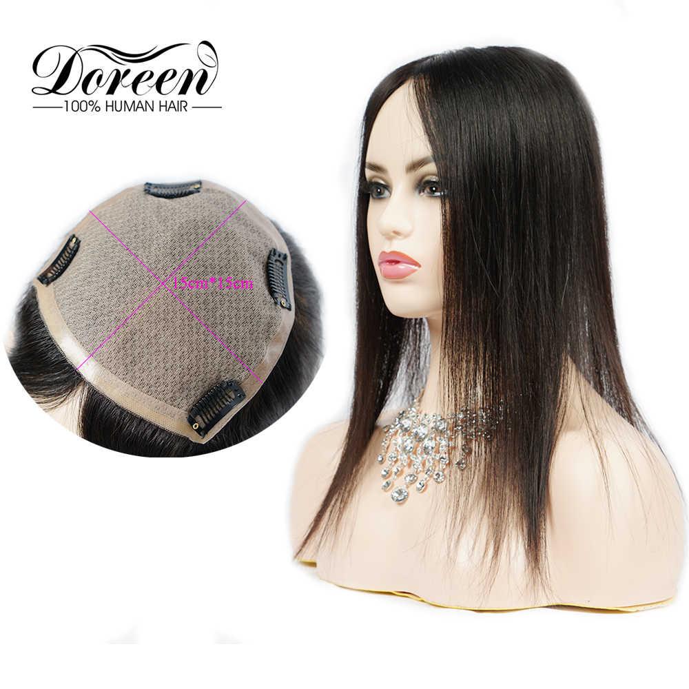 Doreen 14 인치 토퍼 헤어 130% 밀도 클립 Toupee 헤어 여성 레이스 PU 인간의 머리카락 Toupee 레미 헤어 15*15 자연 색상