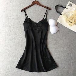 Новые европейские и американские дамы с нагрудной накладкой имитация шелка Большие кружевные подтяжки ночная рубашка сексуальное искушен...