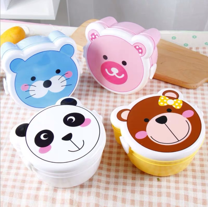 Portable Kid Lunch Box Double Layer Cartoon Food Container Plastic Picnic Storage Box for Microwave Outdoor School Children Gift