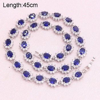 925 Silver Jewelry Sets For Women Blue Semi-precious Earrings Bracelet Pendant Necklace Ring Party Bridal Jewelry