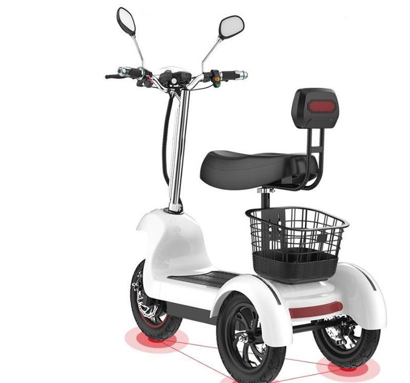 Nowy trzy koła elektryczny trójkołowiec rowery elektryczne 3 koła hulajnoga 48V 500W przenośny Ebike dla dorosłych W podeszłym wieku
