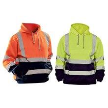 Moletom com capuz dos homens da visibilidade alta da segurança com o bolso tiras reflexivas cordão topos noite equitação esportes armazém trabalho