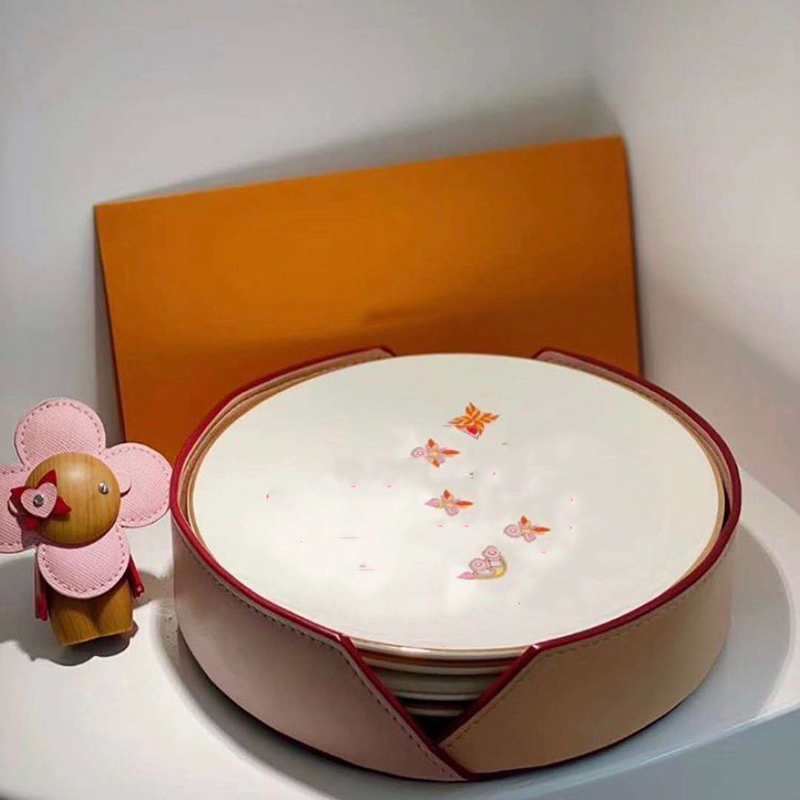4pcs plates 4 pcs cup per set Western Dish Steak Dish Snack Plate Luxury Dinner Plates with original packing
