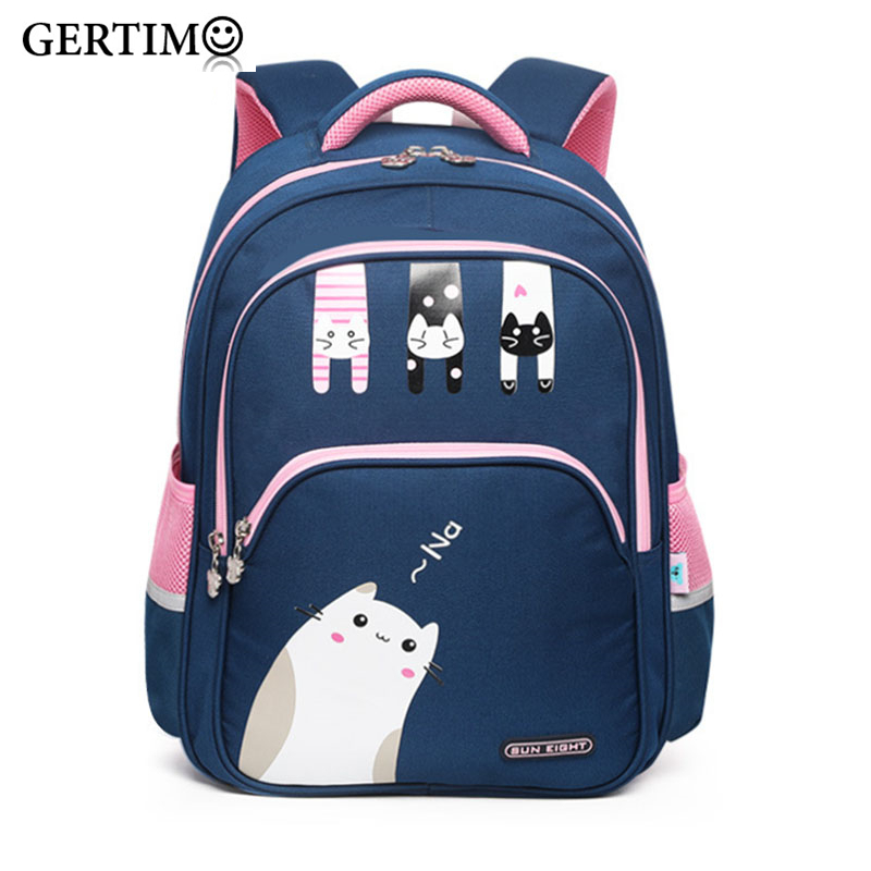 New Arrival School Bags For Girls  Lovely Cat Printing School Backpacks For Little Girls Kids Bags 3-4 Grade Orthopedic Satchel