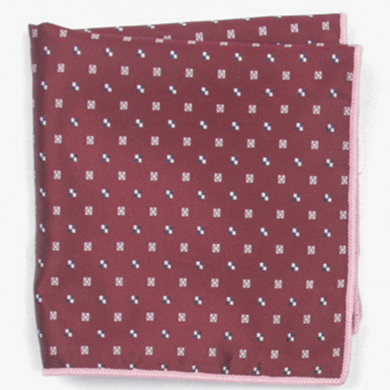 Dark Red Dotted Patterned Pocket Square With Patterns Handkerchief