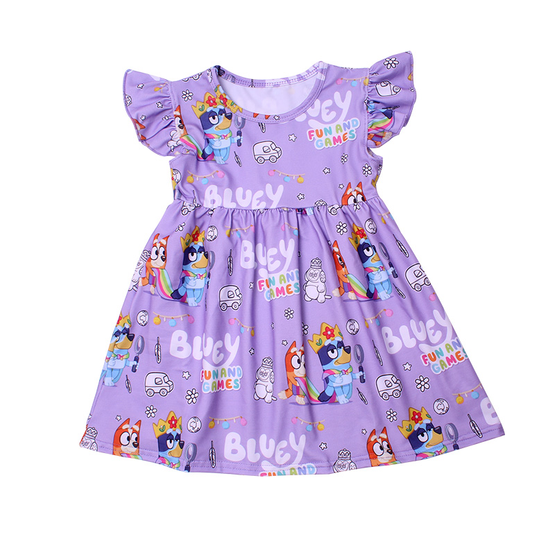 New Fashion Girls Dress Puffy Sleeve Kids Cartoon Clothing Soft Milksilk Children Birthday Party Dress Wholesales 12M to 7T 4