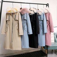 2019 Winter New Style Thick Overcome Mother and Daughter Mink Fur Liner Fox Fur Collar Removable Mid length Coat Fur Parkas