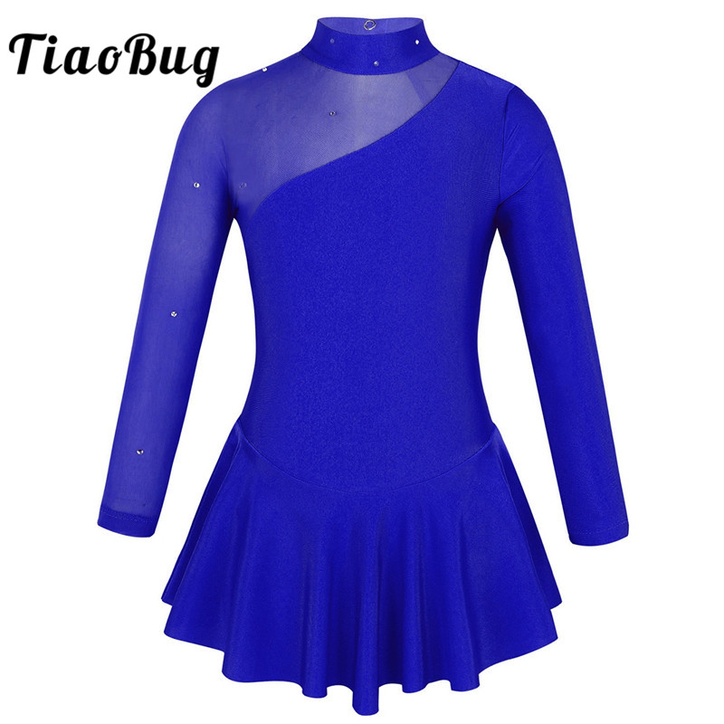 TiaoBug Kids Teens Rhinestones Tulle Long Sleeves Figure Skating Dress Ballet Gymnastics Leotard Girls Performance Dance Costume