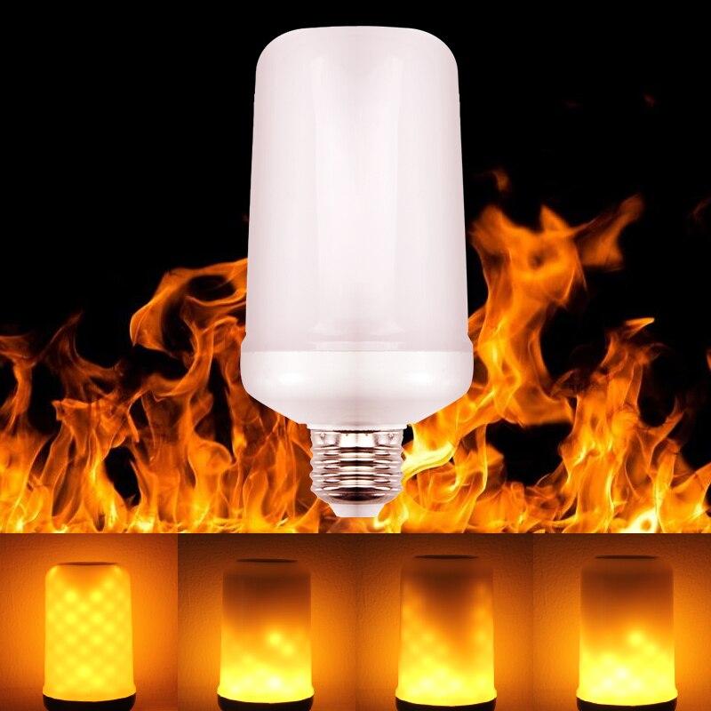E27 Lámparas de llama LED E26 LED con efecto de llama bombillas de fuego 7W parpadeantes emulación llama luces 110V 220V SMD2835 decoración de Navidad E27 /E26 bombillas Led para lámpara de mesa Flexible brazo oscilante abrazadera montaje lámpara Oficina estudio hogar mesa escritorio luz EU/US enchufe AC85-265V