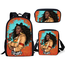 HaoYun Fashion Primary Students Backpack Kawaii African Girl Pattern Kids School Bags Black Afro Arts Design 3PCs/Set Book