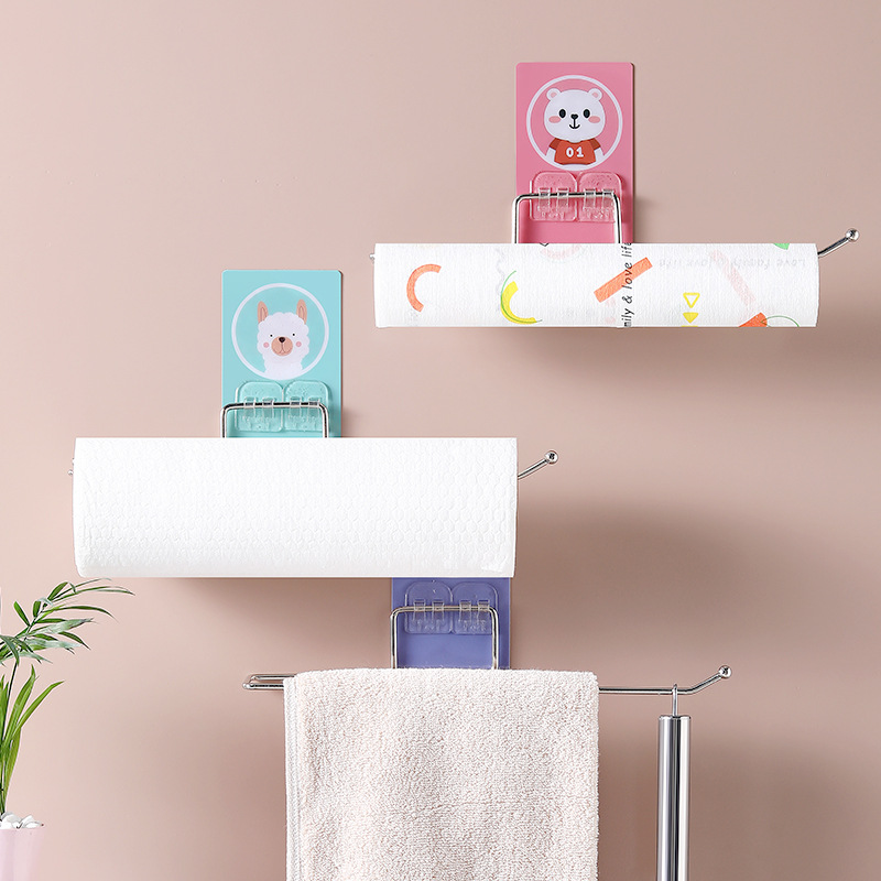1pcs Kitchen Paper Towel Holder Self-adhesive Accessories Stainless Steel Paper Towel Holder Storage Rack For Bathroom Toilet