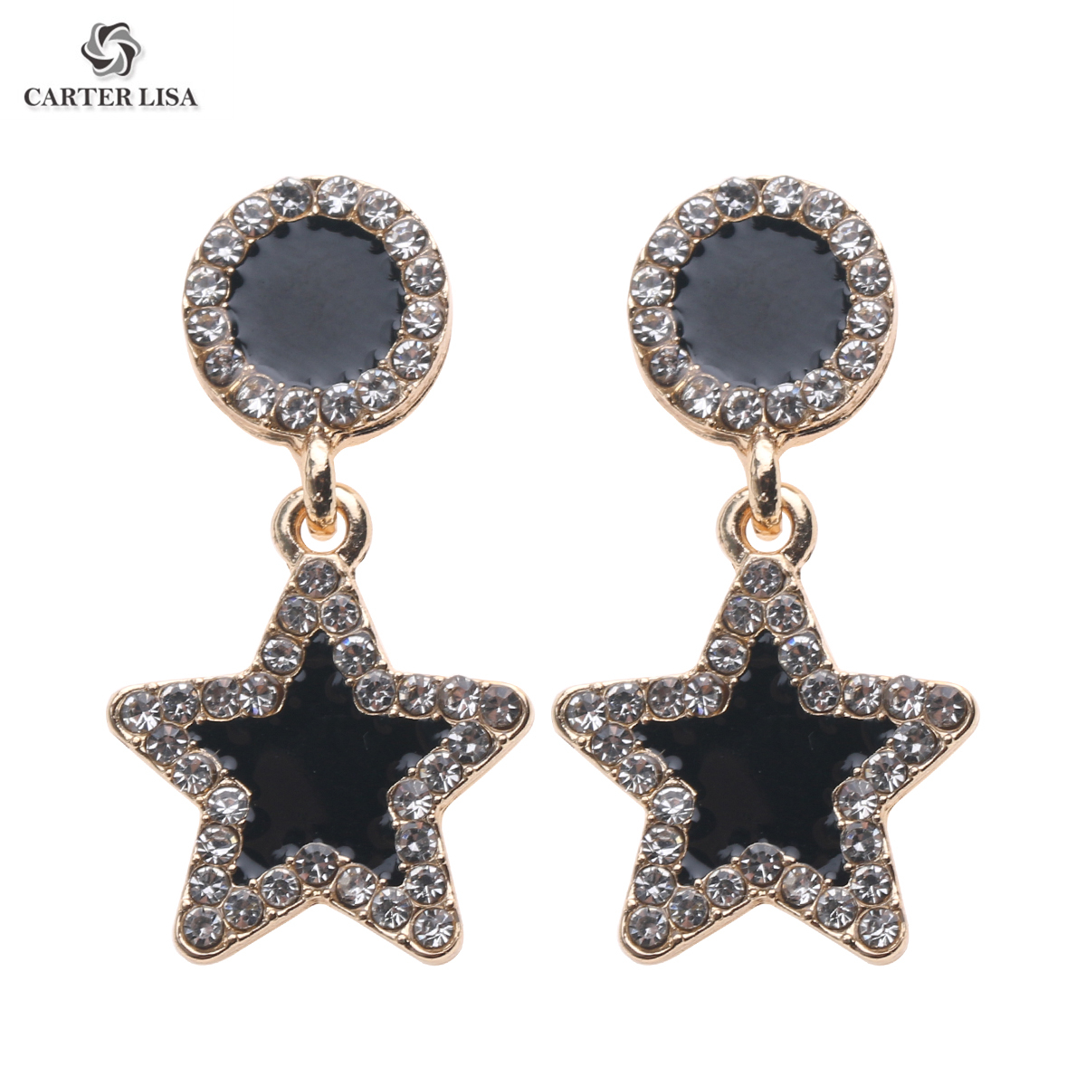 CARTER LISA 2019 New Korean Elegant Crystal Long Trassel Drop Earrings Women Five-pointed Star Dangling Drop Party Earrings