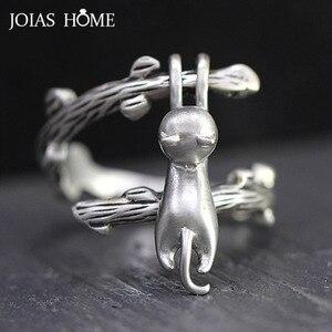 JoiasHome тайское серебро 925 ювелирные изделия открытие регулируемое кольцо для женщин Креативный дизайн кошачья лазания ветка милый котенок ч...